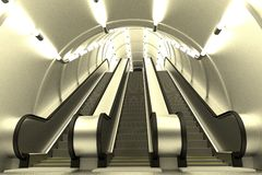 3d render of escalator scene Stock Photos