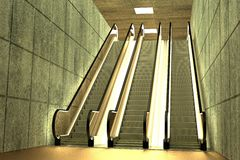 3d render of escalator scene Royalty Free Stock Photo