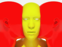 3d render. Face to face humanoid. And red, yellow colors Stock Image