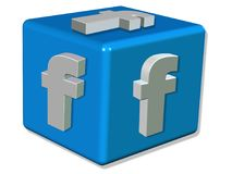 3D Render FACEBOOK LOGO represented as a blue cube with a white letter F - White background Concept image. Illustration Royalty Free Stock Photography