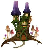 Fairytale house with mushrooms Stock Photos