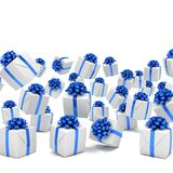 3d render of falling christmas presents Royalty Free Stock Photos