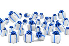 3d render of falling christmas presents Royalty Free Stock Image
