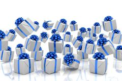3d render of falling christmas presents. With blue ribbons over white reflecting background Royalty Free Stock Image