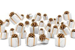 3d render of falling christmas presents. With brown ribbons over white background Stock Photos