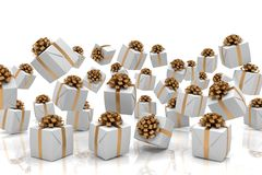 3d render of falling Christmas presents. With brown ribbons over white reflecting background Royalty Free Stock Photos