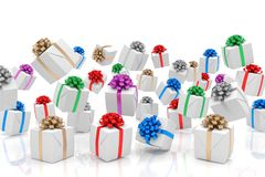 3d render of falling christmas presents. With colorful ribbons over white reflecting background Stock Photography