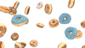 3d render Falling donuts with on a white background stock illustration