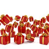 3d render of falling red christmas presents Royalty Free Stock Images