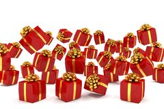 3d render of falling red christmas presents Stock Photos