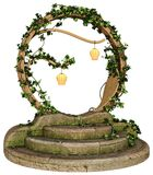 Fantasy portal with lanterns and ivy. 3D render of a fantasy portal with lanterns and ivy stock illustration