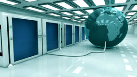 Render farm and globe earth Royalty Free Stock Photos