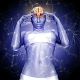 3D render of a female figure with brain  with connecting dots an Stock Photo