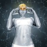 3D render of a female figure with brain  with connecting dots an Stock Photos