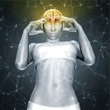 3D render of a female figure with brain  with connecting dots an Stock Image