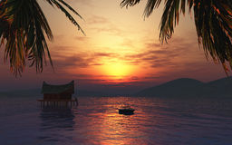 3D render of a female sunbathing on a boat in a tropical landsca Stock Photos