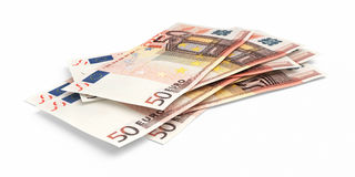 3d render Fifty Euro banknotes. Close-up ( on white and clipping path Royalty Free Stock Image