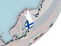 Finland on globe with flags. 3D render of Finland on political globe with embedded flag. 3D illustration Royalty Free Stock Images