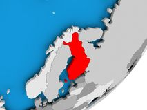 Map of Finland. 3D render of Finland on political globe. 3D illustration Stock Photography