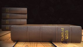 The first book of the Torah five books. 3D render of The five books of Moses in leather cover and golden writing in Hebrew royalty free illustration