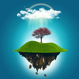 3D render of a floating island with a cherry tree, rainbow and r Stock Photos