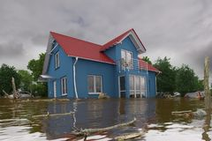 3d render - flooding blue house. 3d render of a flooding blue house - force of nature Stock Photo