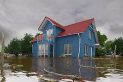 3d render - flooding blue house. 3d render of a flooding blue house - force of nature Stock Images