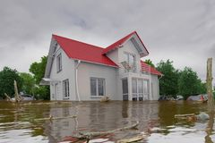 3d render - flooding blue house. 3d render of a flooding white house - force of nature Stock Image