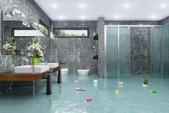 3d render - flooding modern bathroom bathroom. 3d render of a flooding modern bathroom Stock Photo
