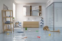 3d render - flooding scandinavian - nordic bathroom. 3d render of a flooding scandinavian, nordic bathroom Royalty Free Stock Photos
