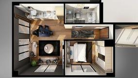 3D render of the floor plan Stock Photography