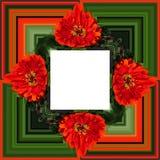 3D render flower background frame. 3D render illustration of background frame with embossed real native colorful flowers royalty free illustration