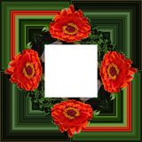 3D render flower background frame. 3D render illustration of  background frame with embossed real native colorful flowers Royalty Free Stock Image