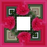 3D render flower background frame. 3D render illustration of background frame with embossed real native colorful flowers stock illustration
