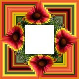 3D render flower background frame. 3D render illustration of  background frame with embossed real native colorful flowers Stock Images