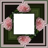 3D render flower background frame. 3D render illustration of  background frame with embossed real native colorful flowers Stock Image