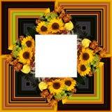 3D render flower background frame. 3D render illustration of background frame with embossed real native colorful flowers vector illustration