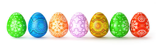 3D render of 7 folk multicolored easter eggs Stock Images
