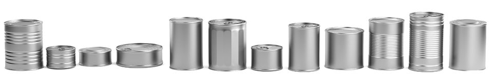 3d render of food cans. Realistic 3d render of food cans Stock Image