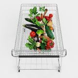 3D Render of Food in Shopping Cart Stock Image