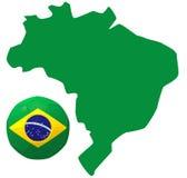 3D render of football on Brazil map. 3D render of soccer football on white background and Brazil map Stock Photo