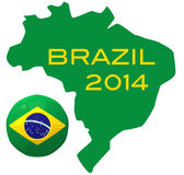 3D render of football on Brazil map. 3D render of soccer football on white background and Brazil map Stock Images