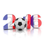 3d render - football 2016. 3d render - Figures 2016 with french flag, football  on white background Royalty Free Stock Photos