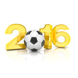 3d render - football 2016. 3d render - Figures 2016 in gold with football isolated on white background Royalty Free Stock Photos