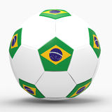 3D render of football with flags. Representing Brazil in 2014 world cup Royalty Free Stock Images