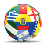 3D render of football with flags. 3D render of soccer football with drop shadow on white background Royalty Free Stock Photos