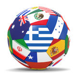 3D render of football with flags. 3D render of soccer football with drop shadow on white background Stock Photo