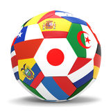 3D render of football with flags. 3D render of soccer football with drop shadow on white background Royalty Free Stock Photo