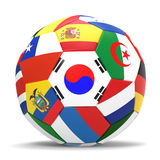 3D render of football with flags. 3D render of soccer football with drop shadow on white background Royalty Free Stock Photography