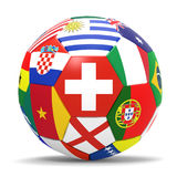 3D render of football with flags. 3D render of soccer football with drop shadow on white background Royalty Free Stock Images